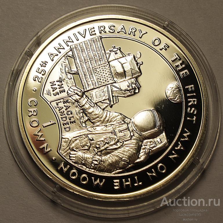 1 Крона 1994 год. Первый флаг, водружённый на Луну. Гибралтар. Серебро!
