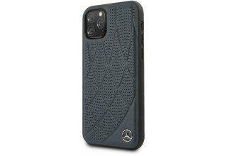 Кожаный чехол-накладка для iPhone 11 Pro Mercedes Bow Quilted/perforated Hard Leather, Blue (MEHCN5