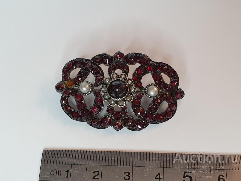 Брошь гранаты пиропы томпак жемчуг. Рубеж 19-20 век Редкость Винтаж Раритет подарок