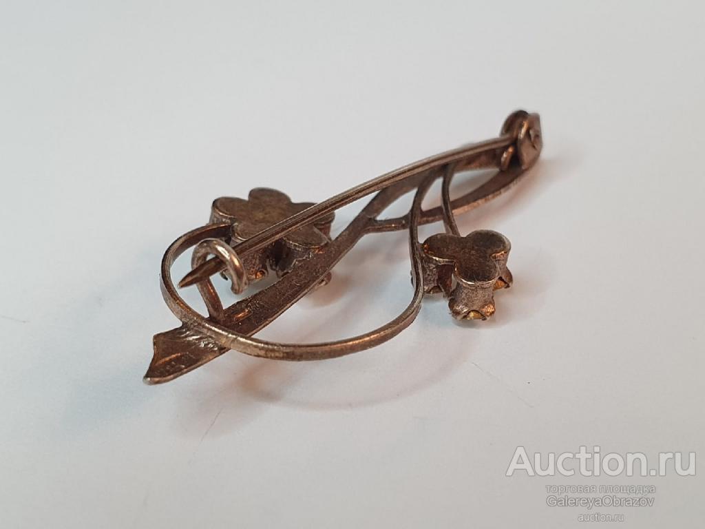 Брошь Скрипичный ключ. Брошка серебро 875 Горный хрусталь. Красивая Винтаж СССР 1950-е