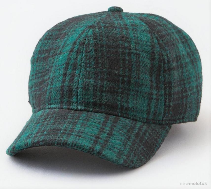 Бейсболка American Eagle шерсть и мех внутри кожа из США новая оригинальная темно зеленая клетка