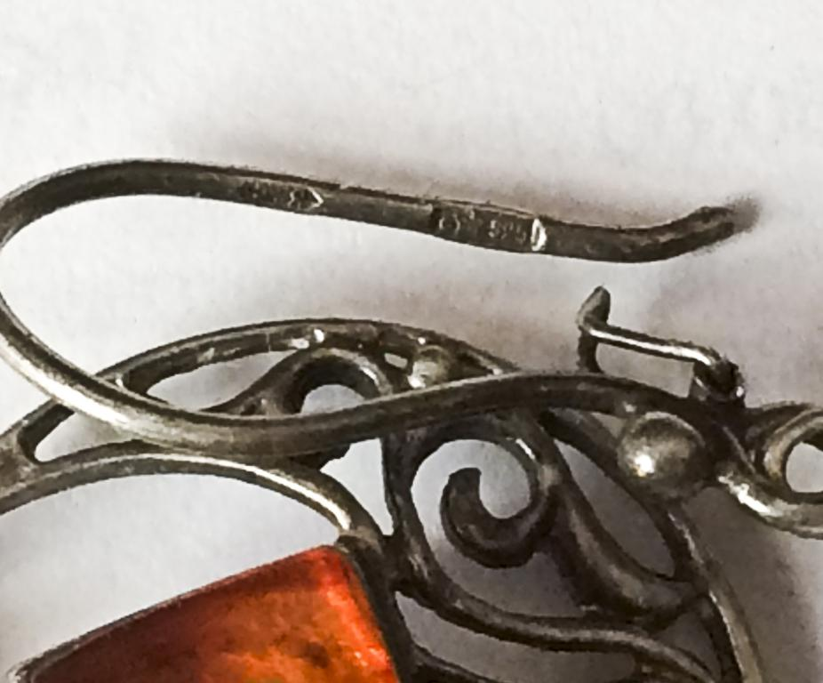 Серьги Серебро 925 пр.Янтарь СССР.Серебряные серьги