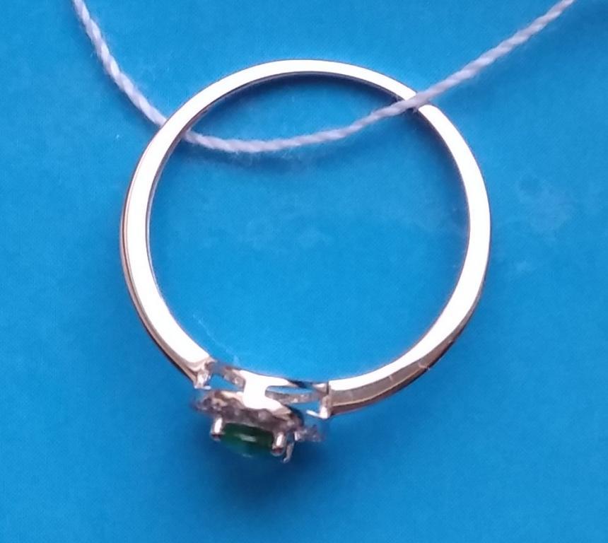 Кольцо белое золото с изумрудом и бриллиантами #13