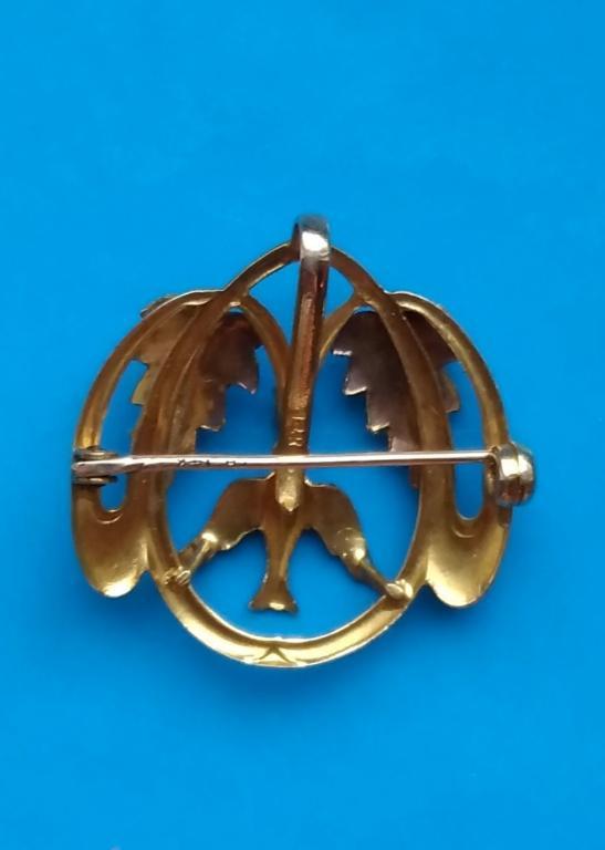 Золотая брошь-кулон с жемчугом и эмалью #10
