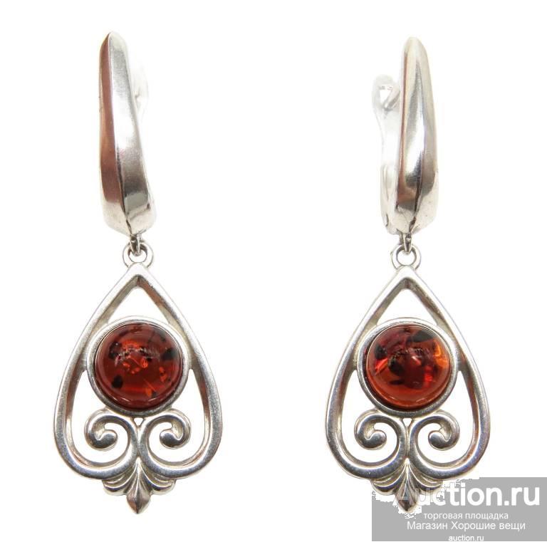 Серьги серебряные Янтарь коричневый серебро 925 проба сережки с янтарём родирование 114 Хорошие Вещи