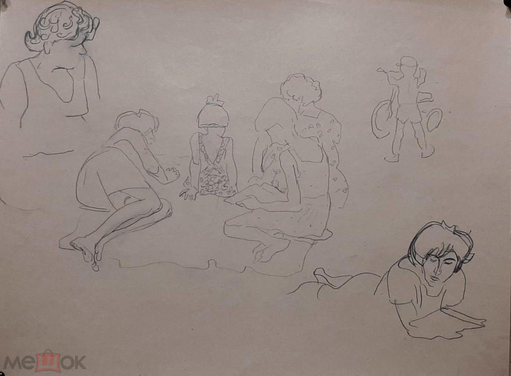 Кобозев Р. А. Пляжные зарисовки 3 шт. (карандаш бумага) 49х32см (244)