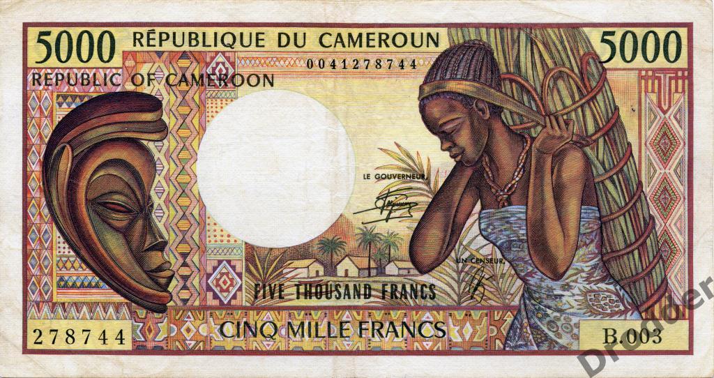Центральная Африка. Камерун. 5000 франков. 1990.