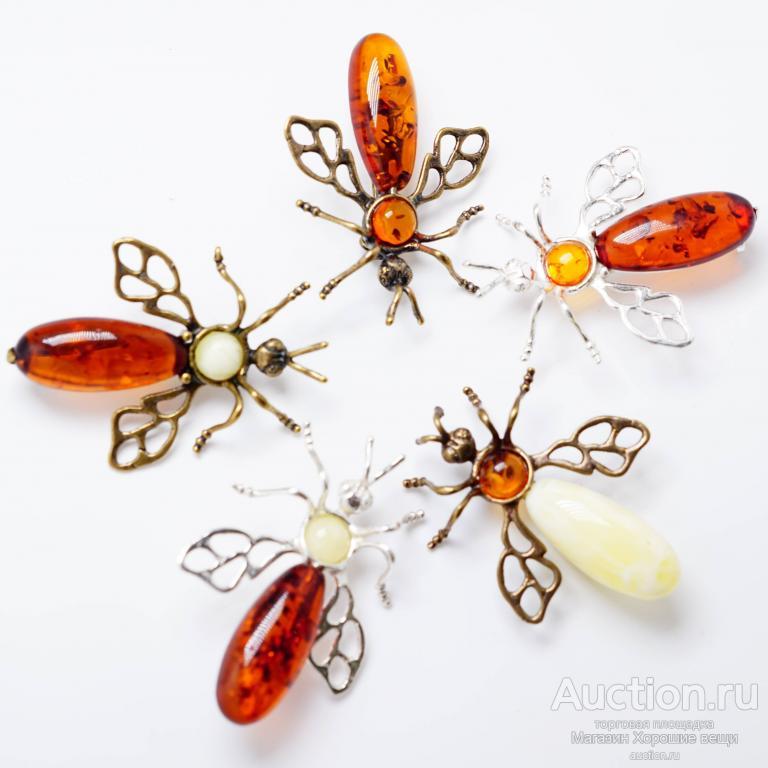 Брошь Муха янтарь микс бронза латунь насекомые брошка милая изящная Хорошие Вещи 716