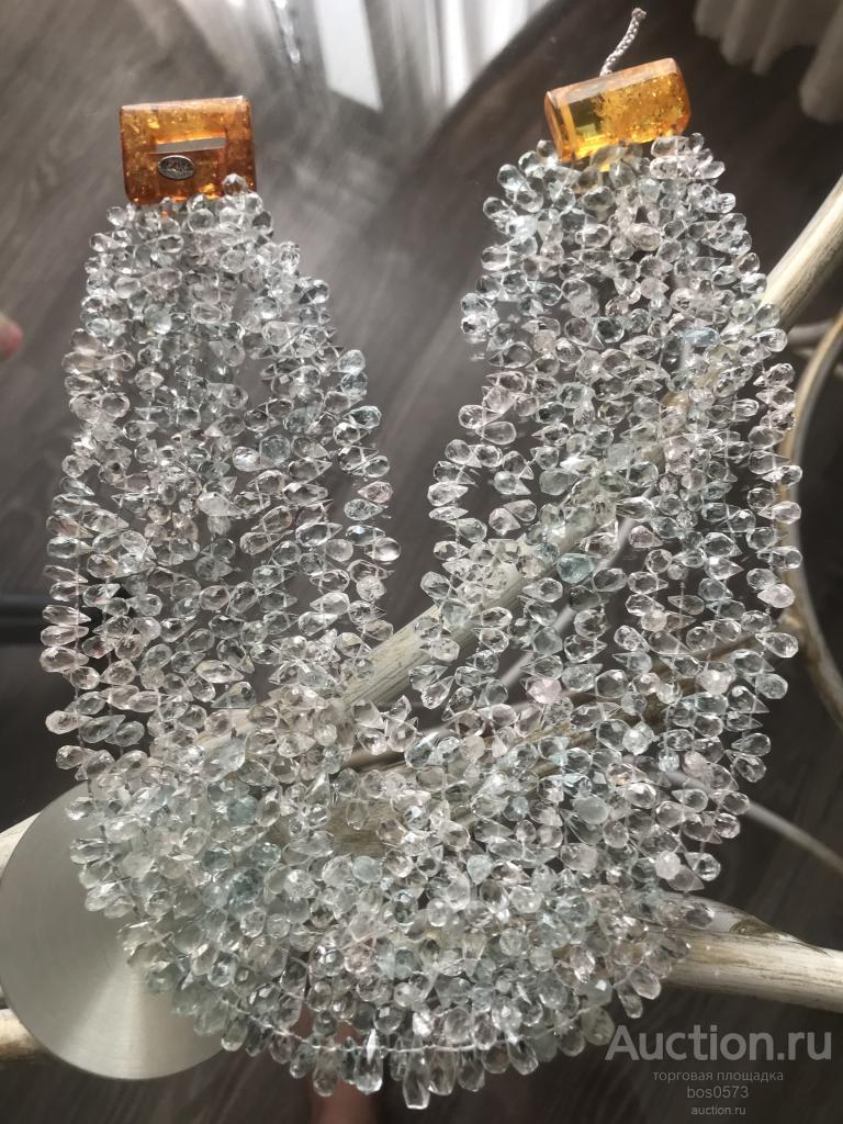 Ожерелье АКВАМАРИН натуральный голубой берилл EvaNueva бусы колье ИТАЛИЯ 45 см