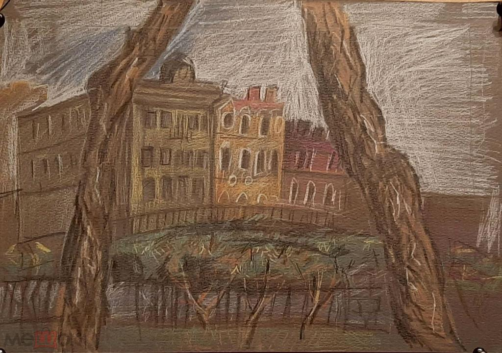 Лапонкина В. Здание (пастель бумага) 21на30см(749)