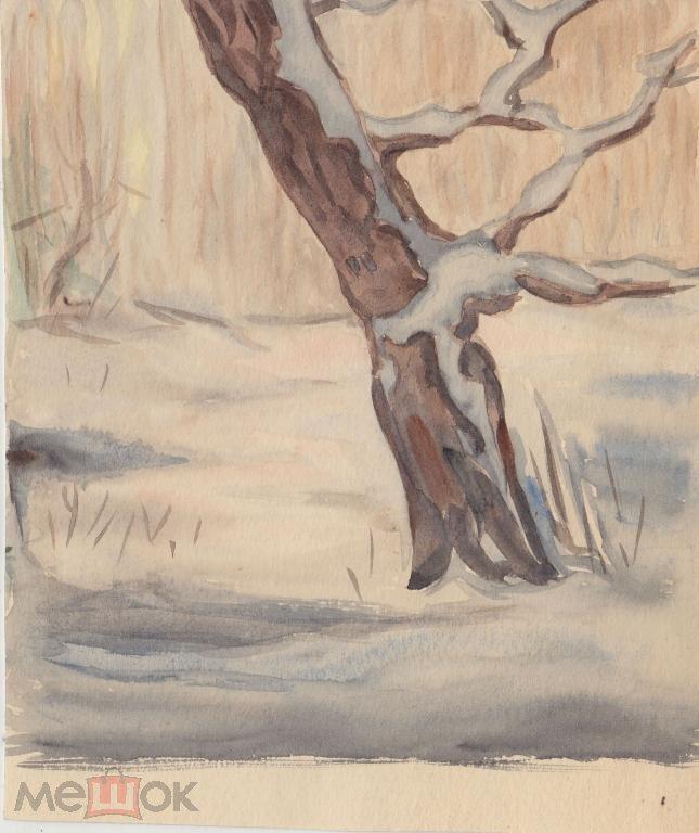 Зимний дуб( аквар бум.)15на18см.(а965)