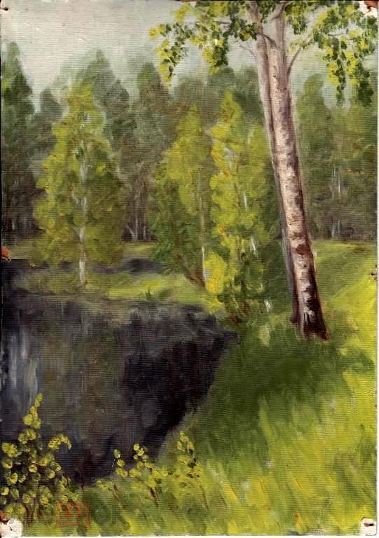 Пейзаж (картон масло) 18на25см(к247)