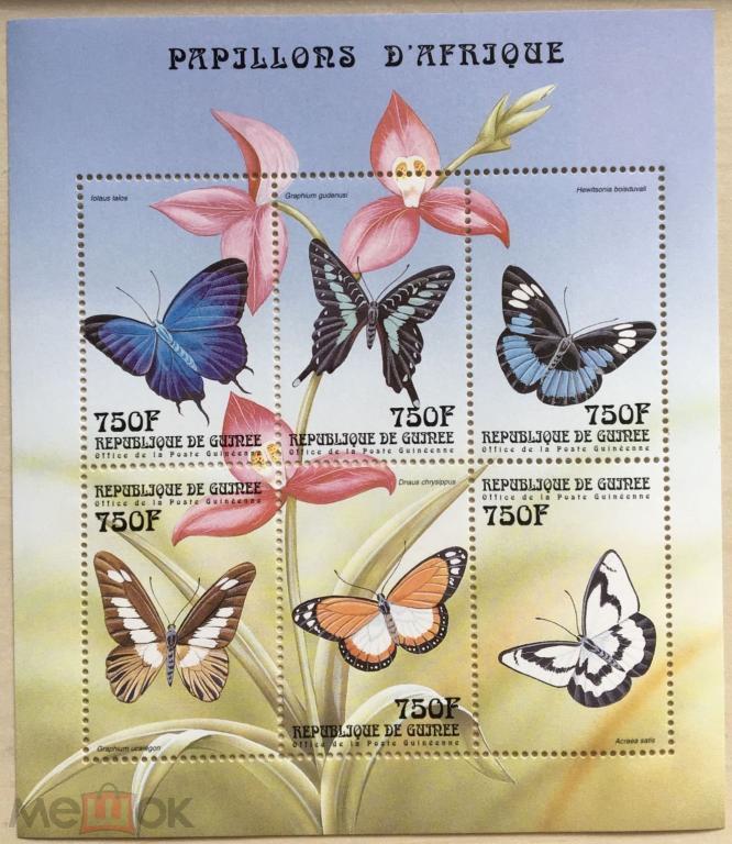* Гвинея 1999**Mi.2610-15 Бабочки , MNH [12;182]