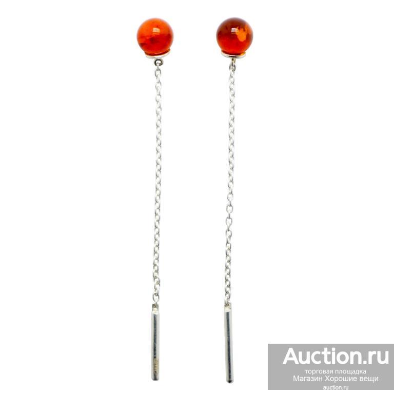 Серьги серебряные янтарь натуральный 925 серебро Ag модные сережки продевки длинные стильные 156