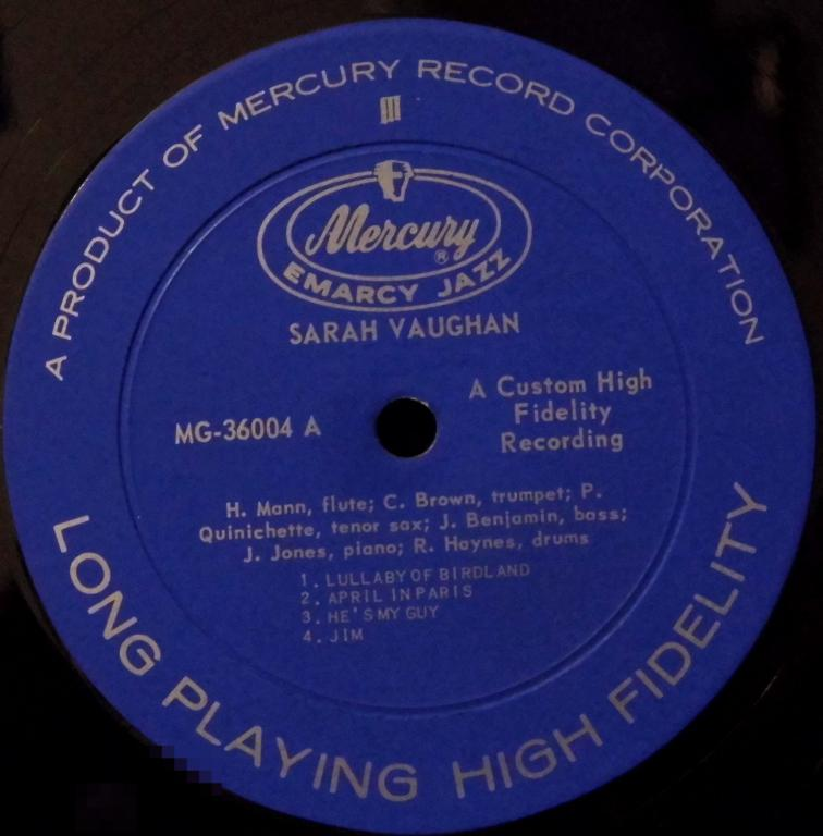 Sarah Vaughan ~ Sarah Vaughan Label: EmArcy – MG-36004 Format: Vinyl, LP, Album, Reissue, Mono  Co