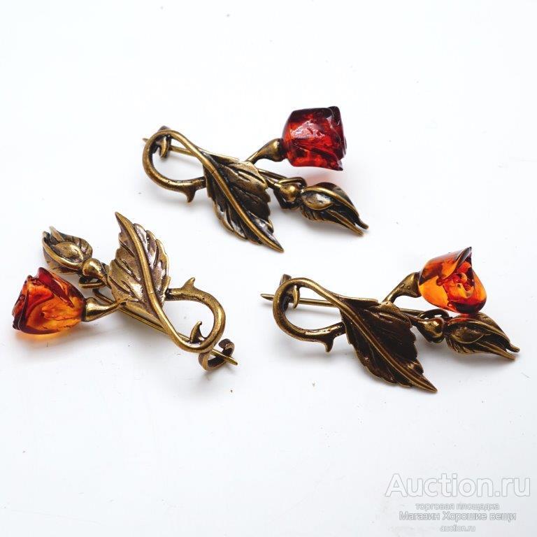 Красивая Брошь Роза с бутоном ( янтарь бронза винтажный стиль брошка стильная )  244