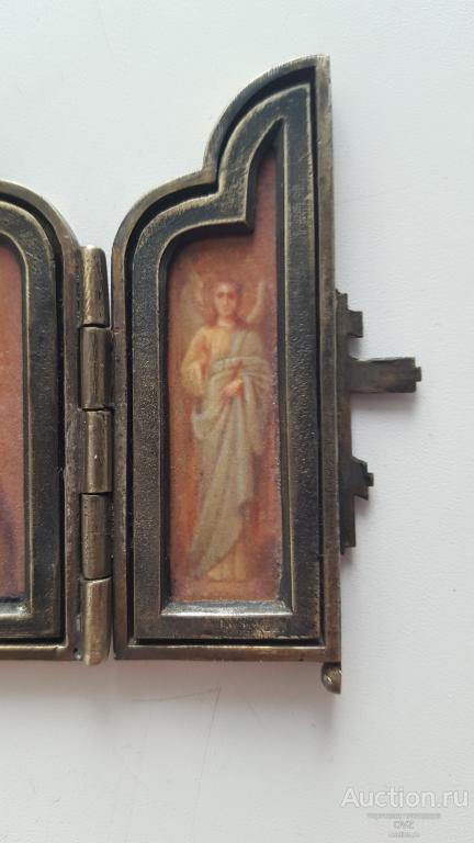 Царская офицерская походная иконка складень ИИСУС редкость, серебро 84 РИА RRR