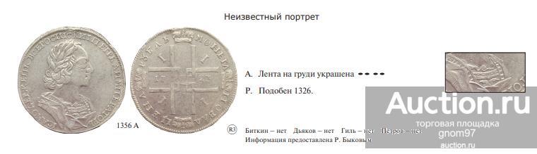 1 рубль 1723 Дьяков #1356А(R3) НЕИЗВЕСТНЫЙ ПОРТРЕТ!!! В КОЛЛЕКЦИЮ!!!