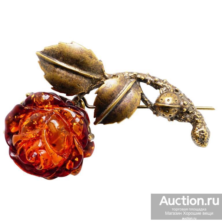 Брошь - кулон Роза с божьей коровкой розочка ( янтарь бронза латунь) брошка цветок Хорошие Вещи 802