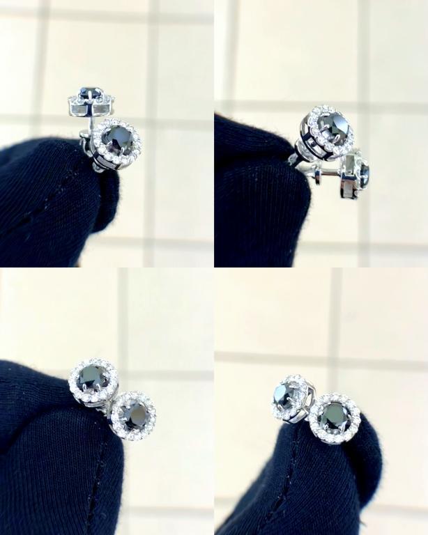 Пусеты, гвоздики, чёрный бриллиант 1 карат