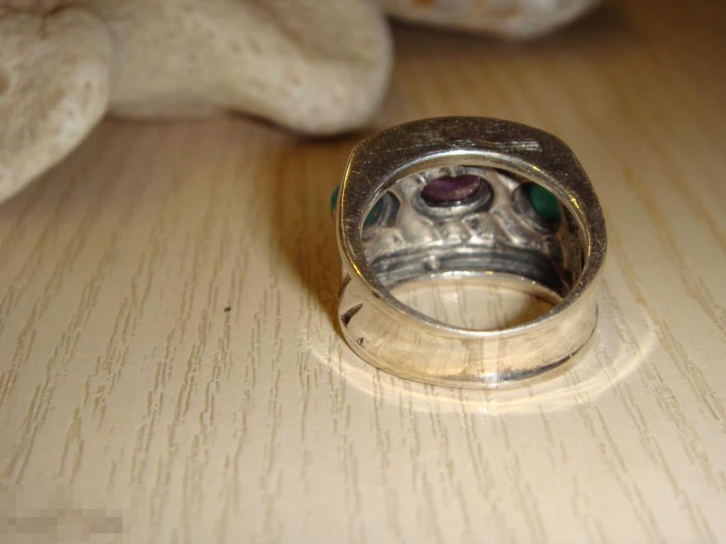 Дизайнер кольцо серебро золото аметист изумруды винтаж оригинал. SALE!
