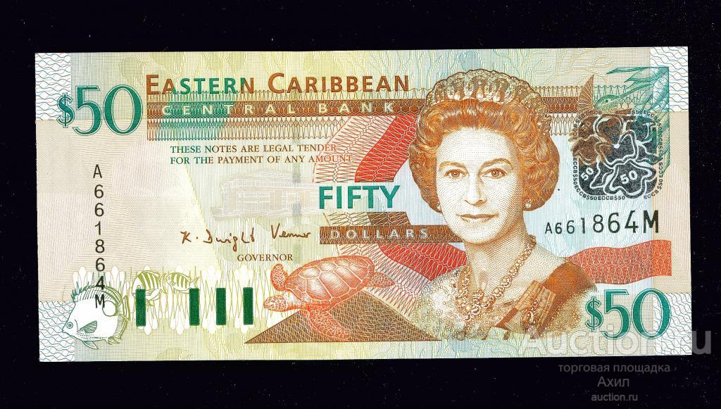 Восточные Карибы, Монтсеррат, 50 долларов ND (2003г) ,Бабочка, Черепаха, UNC !