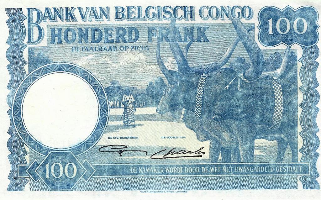 Бельгийское Конго 100 фр 1946 - состояние на фото