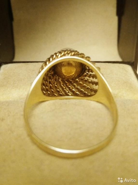 Кольцо.Италия. Жемчуг. Золото 585 пр