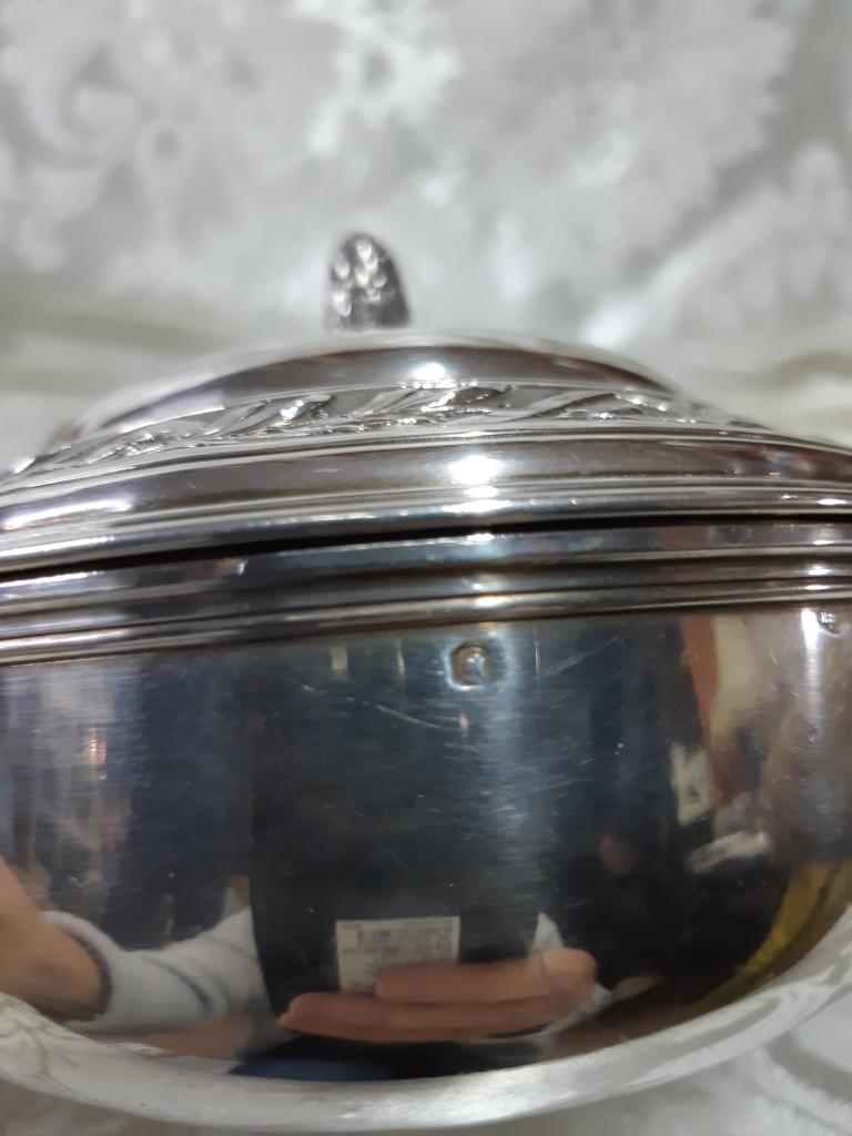 Кастрюля с Крышкой для подачи Серебро позолота клеймо голова Минервы Франция вес ; 423,79гр оригинал