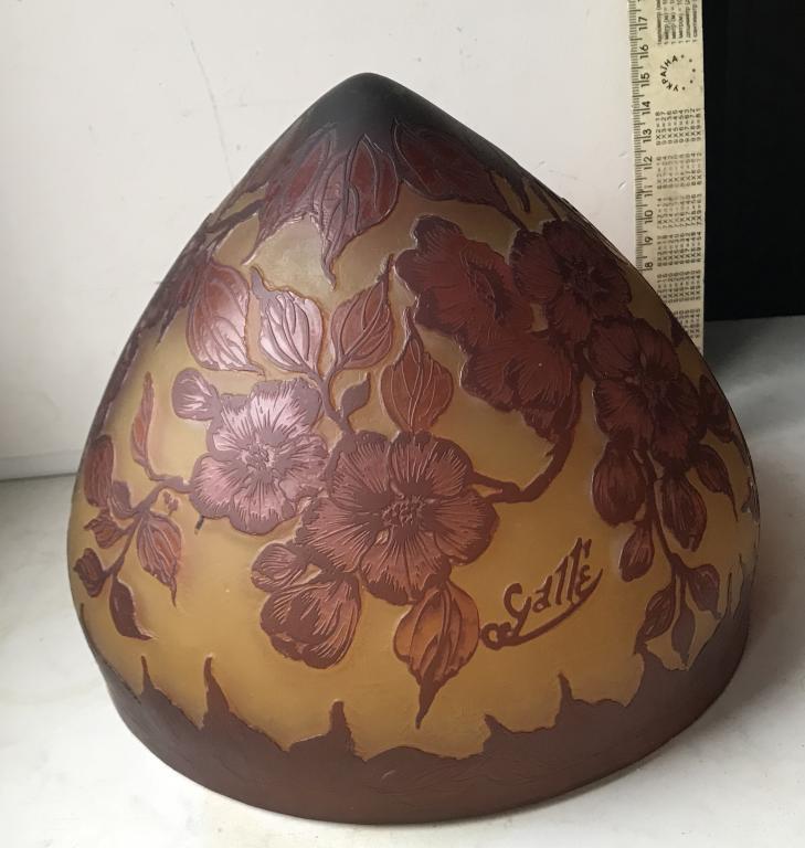 Плафон в лампу светильник модерн трёхслойные стекло тяжолое ,травление  цветок Галле