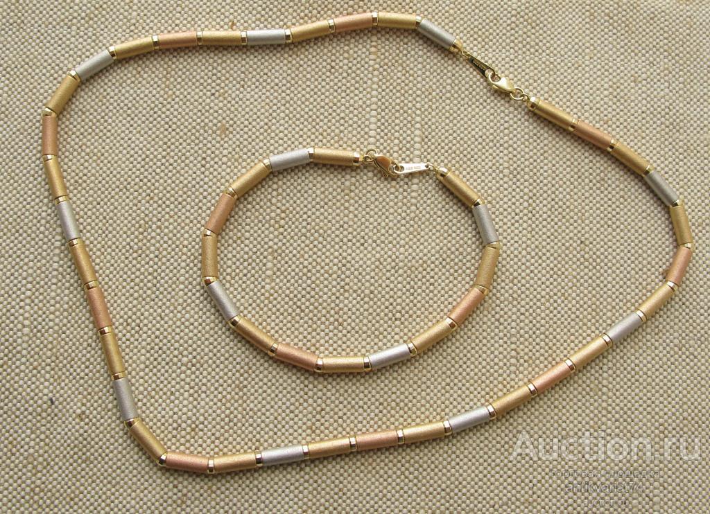 Комплект, бусы, браслет, золото 585 проба 26.25 грамма, 454мм бусы, 204мм браслет.