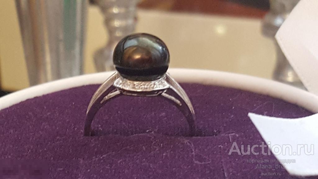 Кольцо черный жемчуг цирконы размер 19 серебро 925 НОВОЕ распродажа
