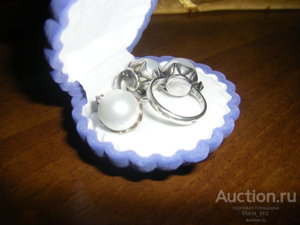 Комплект гарнитур серебро 925 крупный жемчуг цирконы кольцо серьги р17-17.5 sale!