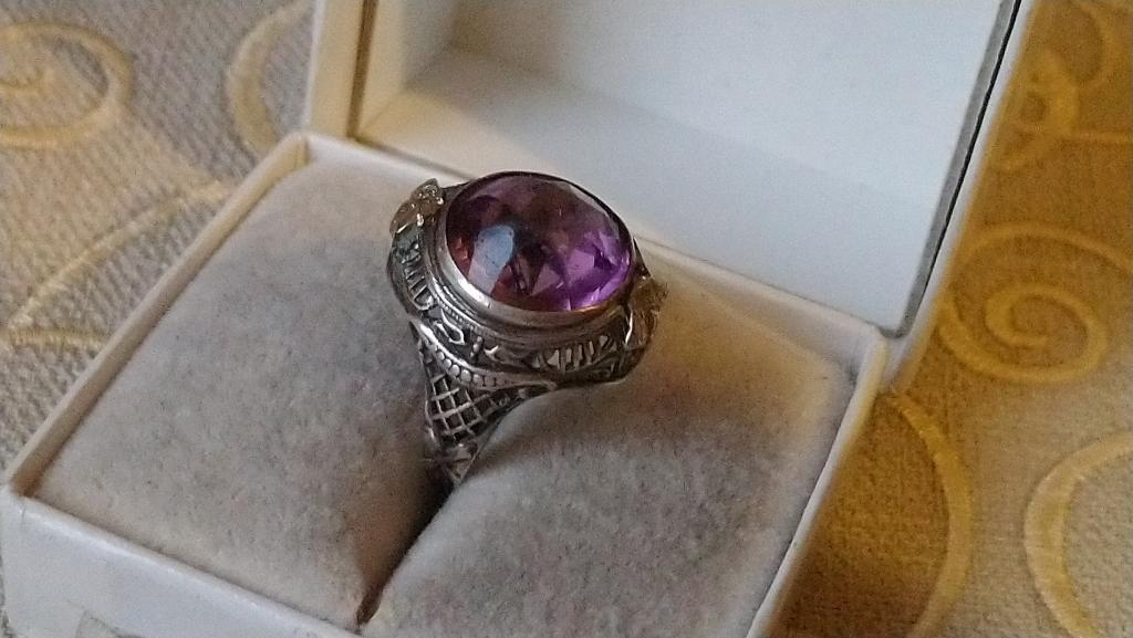 Старинное серебряное кольцо аметист серебро США 1920