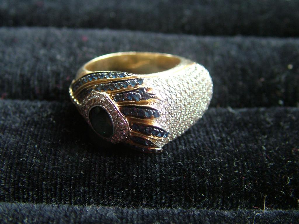 кольцо ЗОЛОТО 585 Бриллианты 1.19ct, Сапфиры 2.24ct