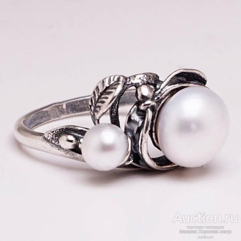 Кольцо Р18 Поэзия посеребрение Жемчуг натуральный белый комплект перстень стильные украшения 1745