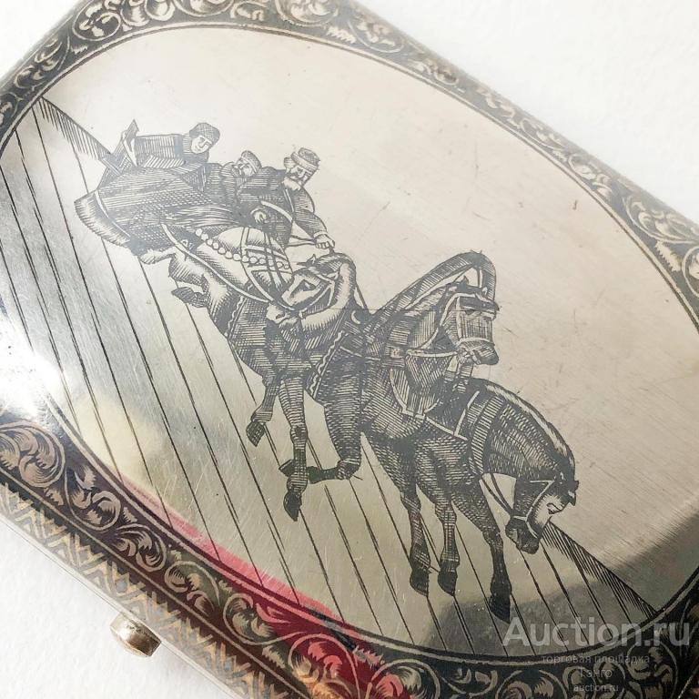 Табакерка - ПОРТСИГАР - Зимняя Тройка - Чернение Позолота - 1896г Серебро 84пр