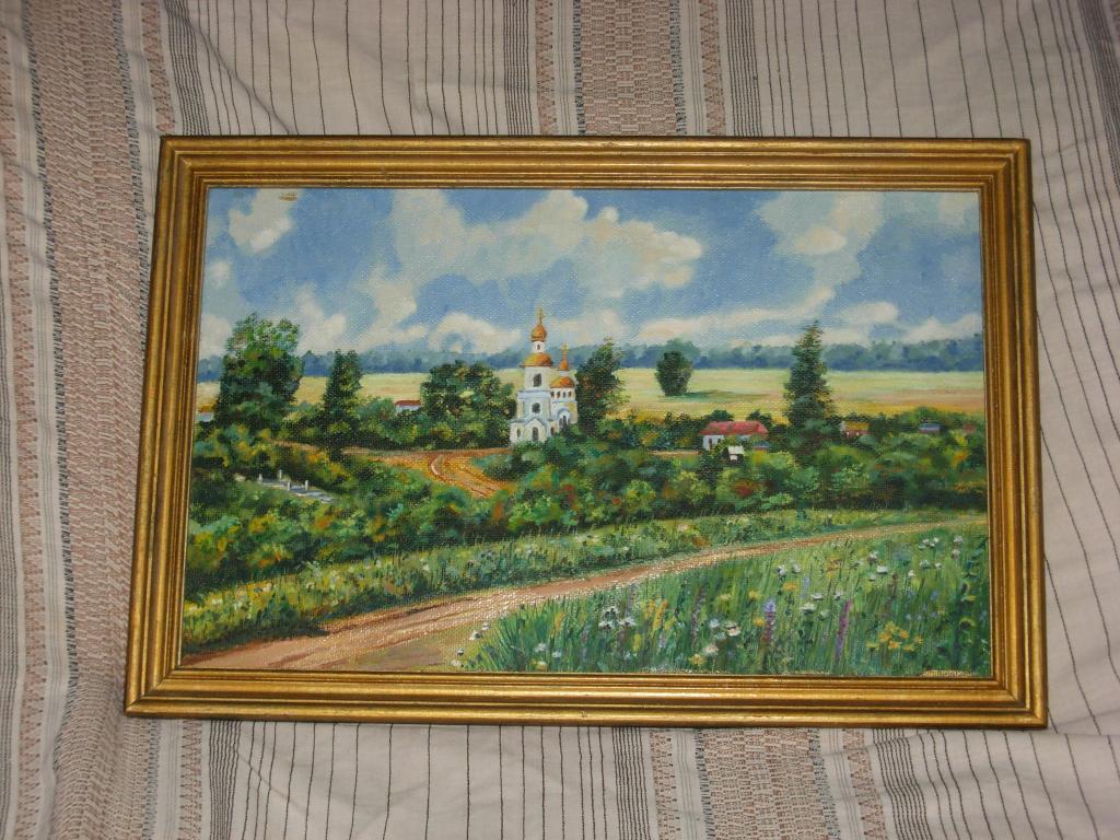 Картина старинная пейзаж живопись масло , в раме багет , в центре храм , церковь