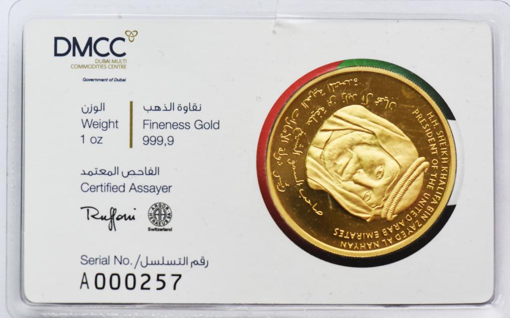 Золотая настольная медаль. Бурдж-Халифа. Золото 999. 31.1 грамм.