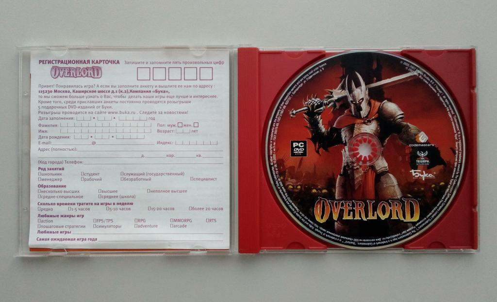 Overlord/Бука/лицензия/DVD-ROM/PC/ПК/Jewel Box/распечатан