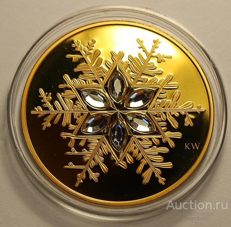 300 долларов 2006 год. Снежинка. 14 карат. Золото 583 пробы - 60.50 грамм. 6 кристаллов Сваровски.