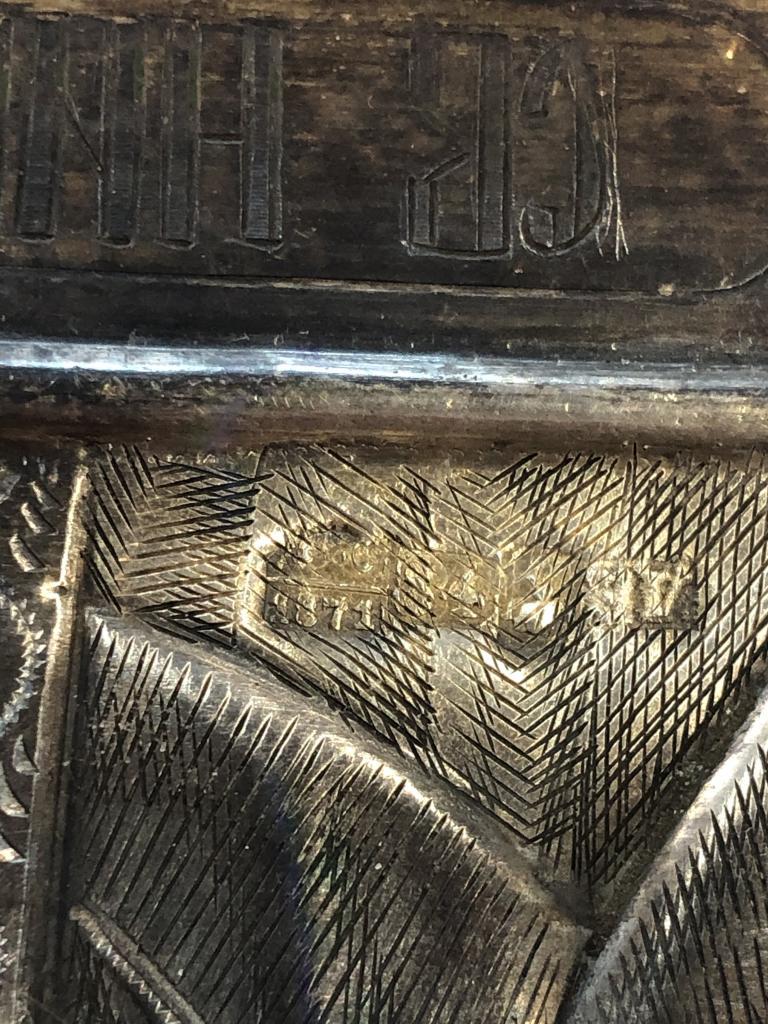 Икона Святой Николай Чудотворец. 1871 год. Серебряный оклад. 84 проба. Киот