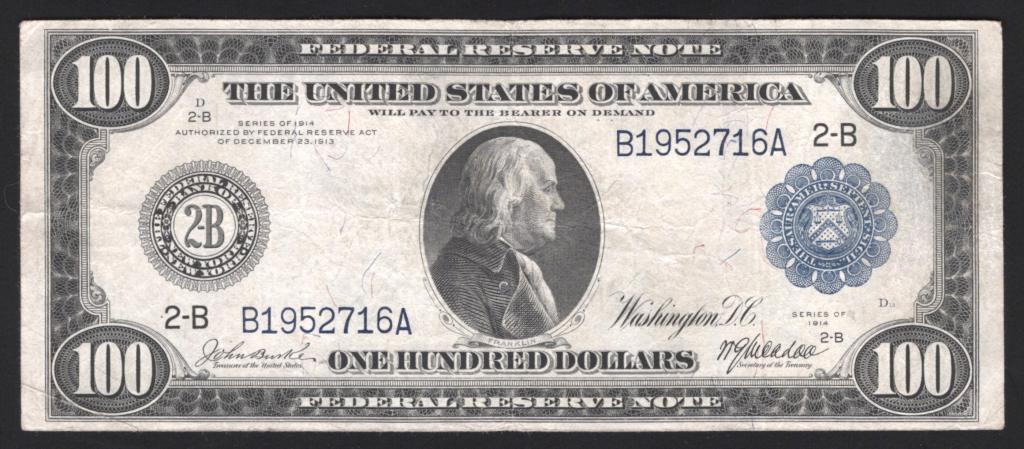 100 Долларов 1914 США Нью-Йорк Редкое Состояние Fr1088 R #401