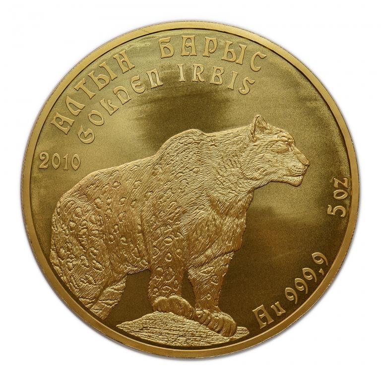 500 тенге 2010 год. Казахстан. Золотой барс. Золото 999 пр. Вес: 155.5 грамм.