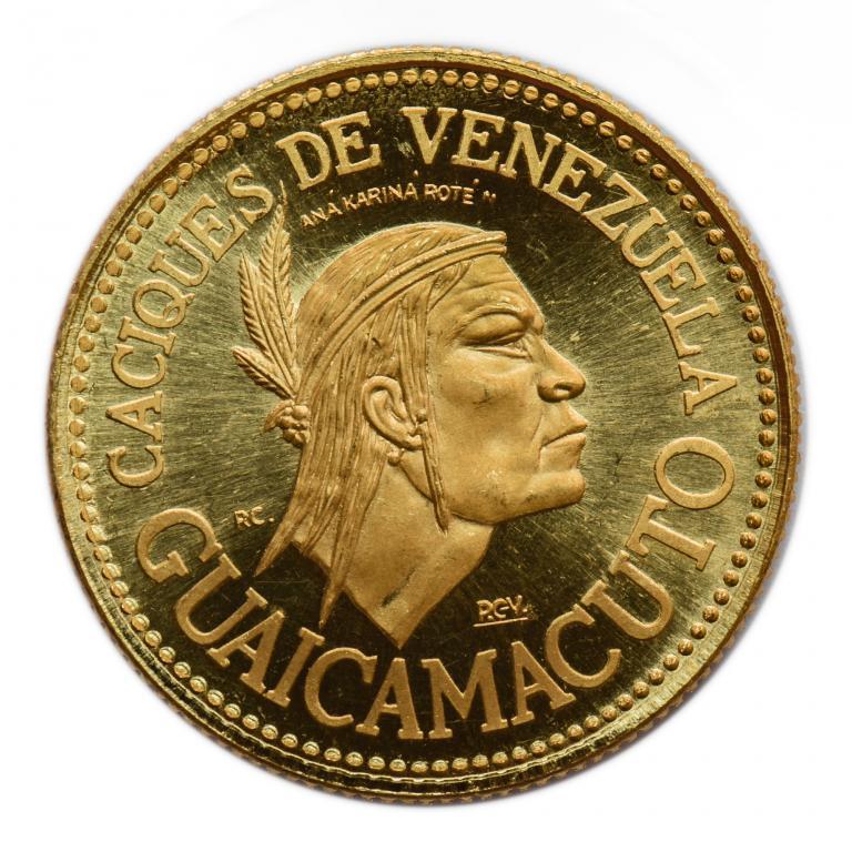 60 боливар 1955 год. Венесуэла. Золото 900 пробы. Вес: 22.2 грамма.