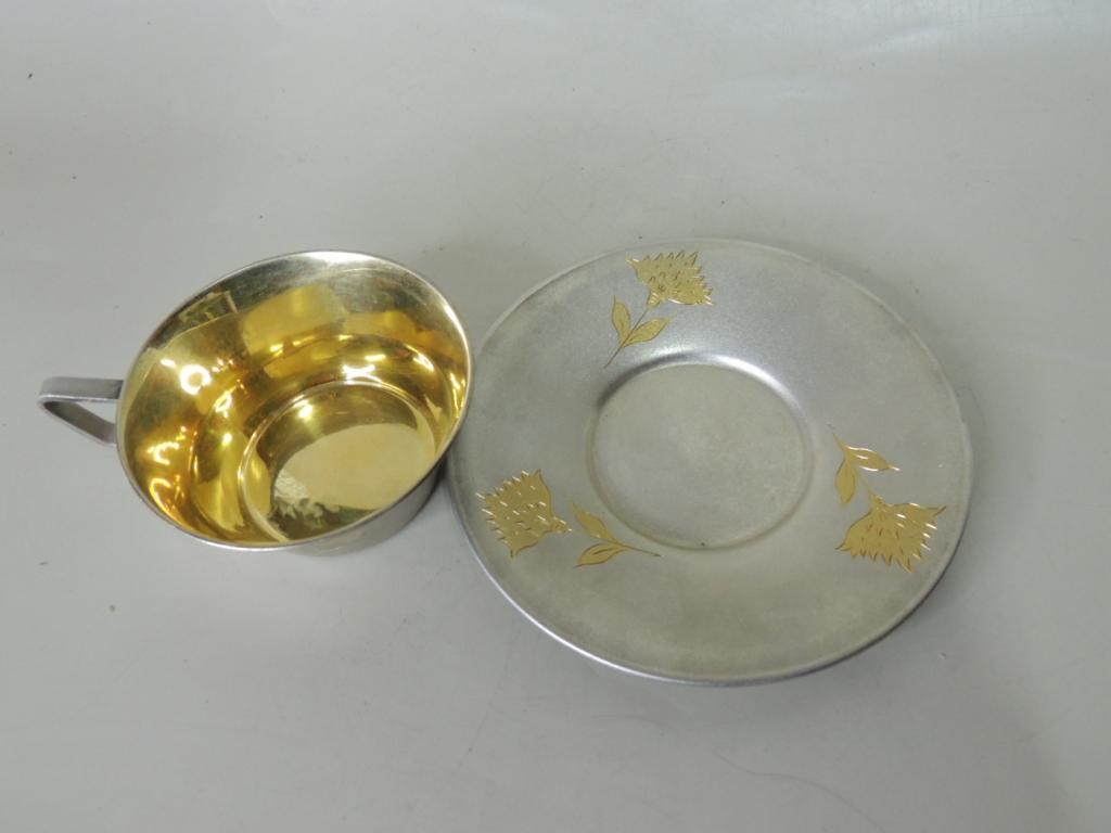 Красивая Кофейная Чашка С Блюдцем Серебро Позолота Рисунок Цветок 875 Проба Вес 137,92 гр С Рубля