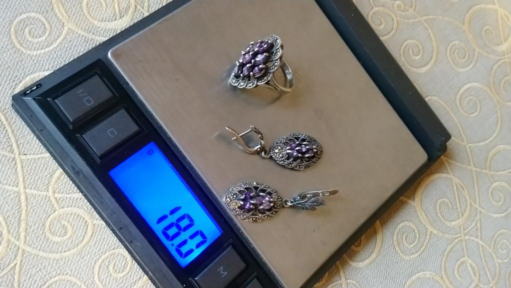 Серебряный комплект аметист марказиты серьги кольцо серебро 925 винтаж