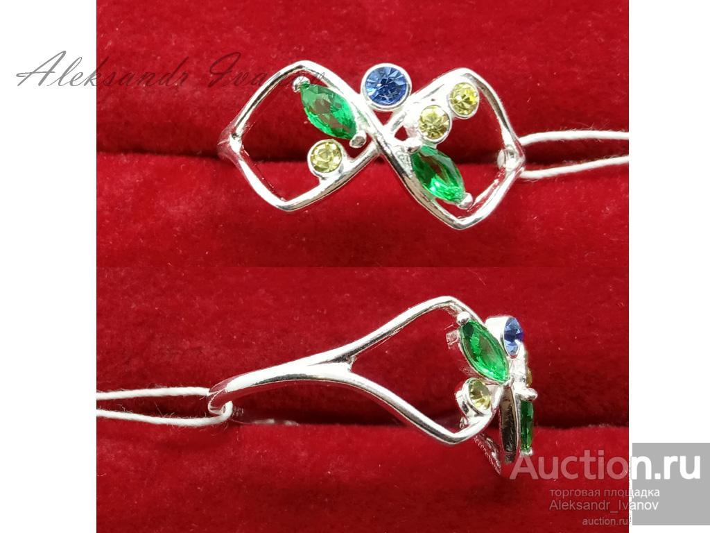 Кольцо, покрытие серебром, вставки иск. шпинель, юв. стекло PRECIOSA, 20 размер; новое