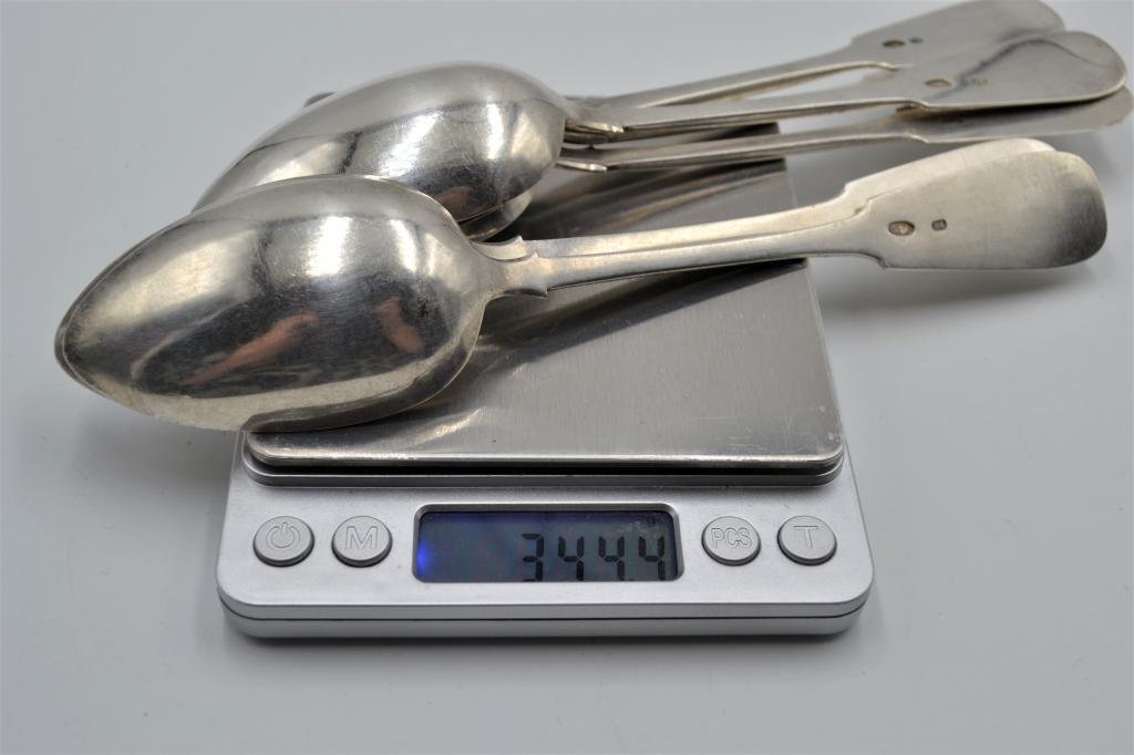 Набор ложек (6 шт). Царское Серебро 84. Гравировка. Вес 344,4 гр, длина 20,5 см.