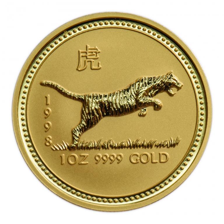 100 долларов 1998 год. Год Тигра. Восточный лунный календарь. Золото 999, Австралия! 31.1 гр